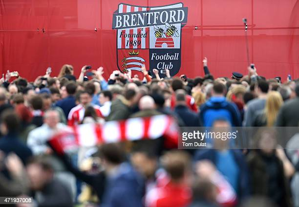 Brentford logo is pictured during a pitch invasion by the fans during the Sky Bet Championship match between Brentford and Wigan Athletic at Griffin...