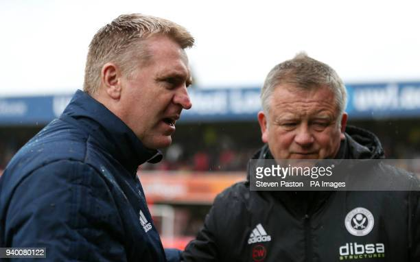 Brentford manager Dean Smith and Sheffield United manager Chris Wilder during the Sky Bet Championship match at Griffin Park London