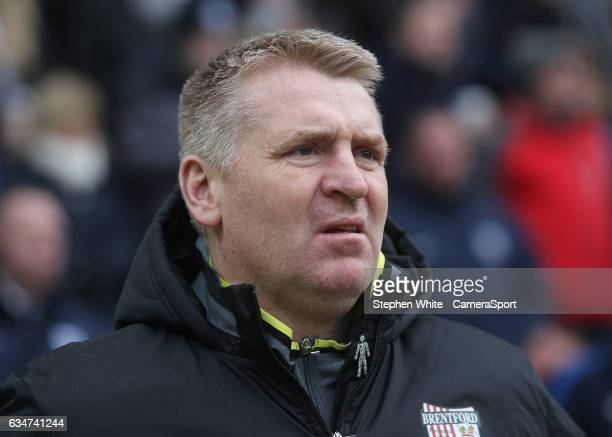 Brentford manager Dean Smith during the Sky Bet Championship match between Preston North End and Brentford at Deepdale on February 11 2017 in Preston...
