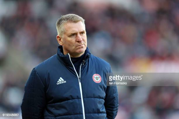 Brentford manager Dean Smith during the Sky Bet Championship match between Sunderland and Brentford at Stadium of Light on February 17 2018 in...