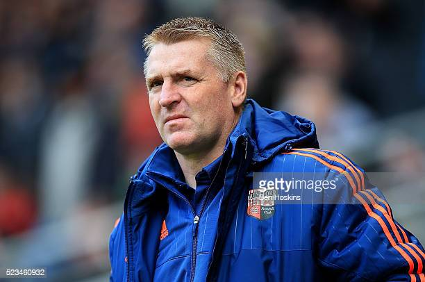 Brentford manager Dean Smith looks on ahead of the Sky Bet Championship match between Milton Keynes Dons and Brentford on April 23 2016 in Milton...