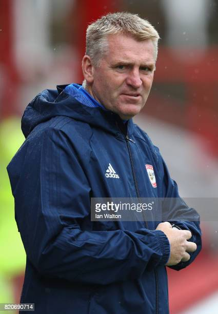 Brentford manager Dean Smith looks on during the Pre Season Friendly match between Brentford and Southampton at Griffin Park on July 22 2017 in...