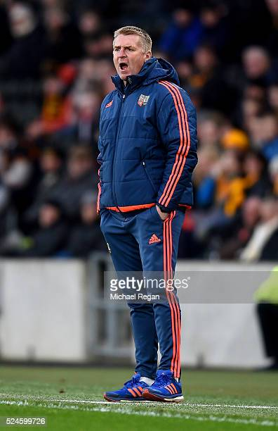 Brentford manager Dean Smith looks on during the Sky Bet Championship match between Hull City and Brentford on April 26 2016 in Hull England