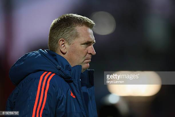 Brentford Manager Dean Smith looks on prior to the Sky Bet Championship match between Brentford and Bolton Wanderers at Griffin Park on April 5 2016...