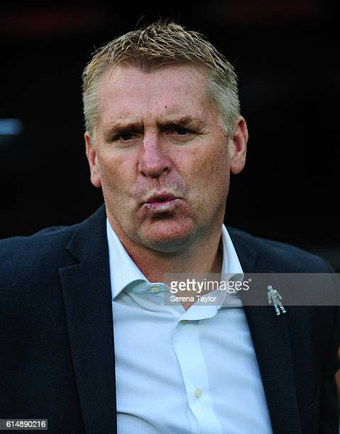 Brentford Manager Dean Smith stands in the dugout during the Sky Bet Championship Match between Newcastle United and Brentford at StJames' Park on...