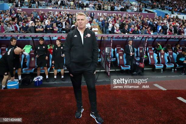 Brentford manager head coach Dean Smith during the Sky Bet Championship match between Aston Villa and Brentford at Villa Park on August 22 2018 in...