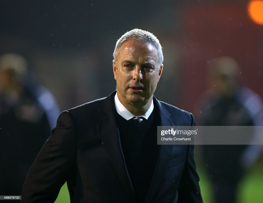 Brentford manager Kit Symons during the Sky Bet Championship match between Brentford and Fulham at Griffin Park on November 21, 2014 in Brentford, England,