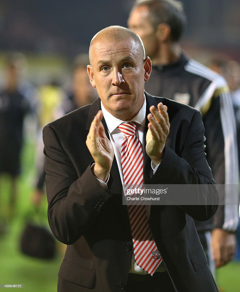 Brentford manager Mark Warburton during the Sky Bet Championship match between Brentford and Norwich City at Griffin Park on September 16, 2014 in Brentford, England.