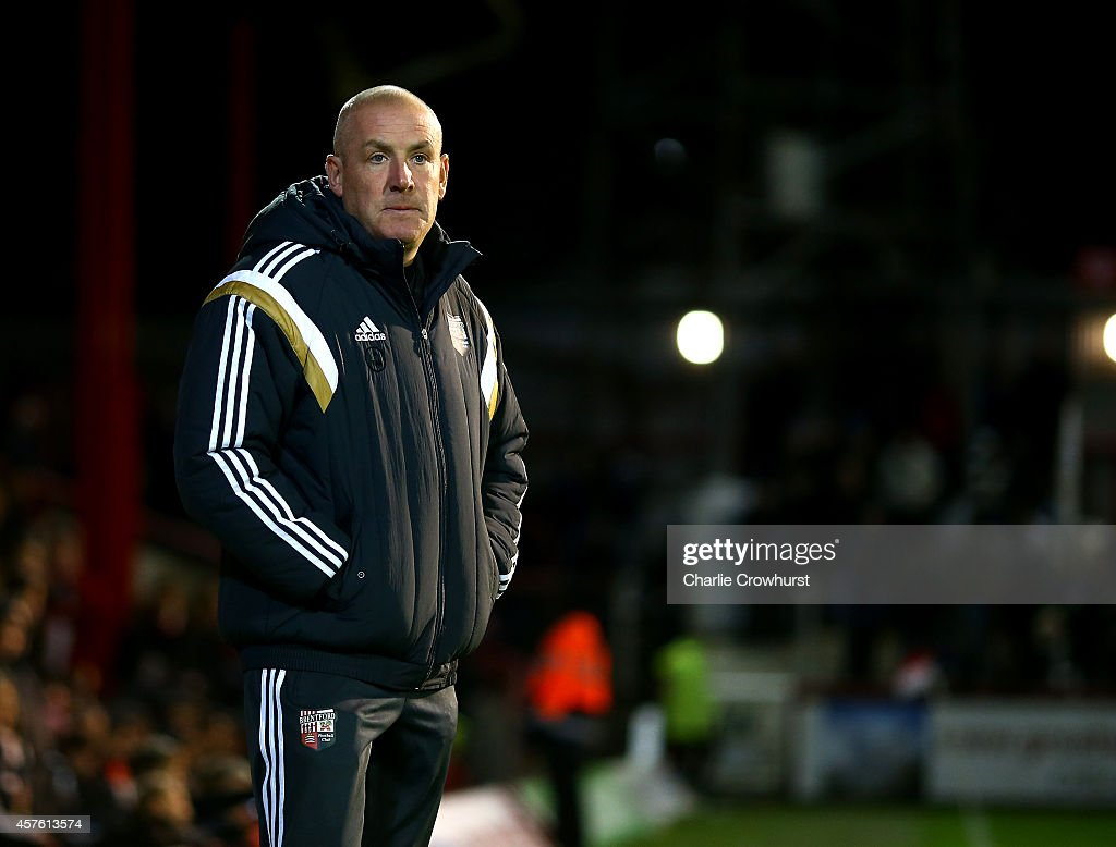 Brentford manager Mark Warburton during the Sky Bet Championship match between Brentford and Sheffield Wednesday at Griffin Park on October 21, 2014 in Brentford, England.