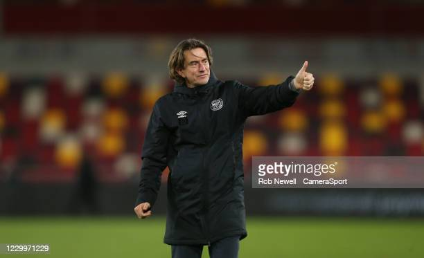 Brentford manager Thomas Frank acknowledges the fans at the end of the game during the Sky Bet Championship match between Brentford and Blackburn...