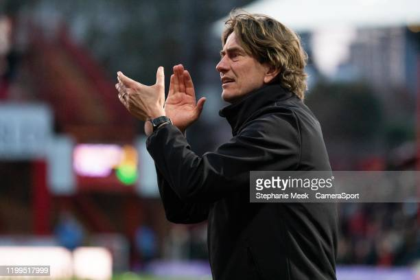 Brentford manager Thomas Frank applauds the fans at the final whistle during the Sky Bet Championship match between Brentford and Middlesbrough at...