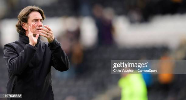 Brentford manager Thomas Frank applauds the fans following the Sky Bet Championship match between Hull City and Brentford at KCOM Stadium on February...