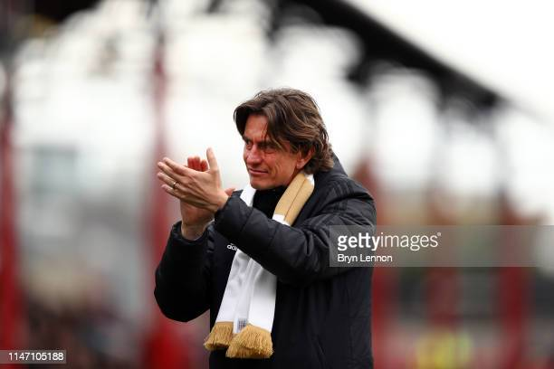 Brentford Manager Thomas Frank thanks fans after the Sky Bet Championship match between Brentford and Preston North End at Griffin Park on May 05...