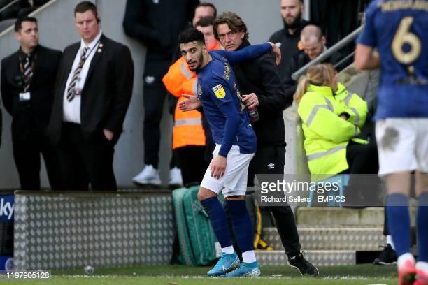 Brentford manager Thomas Frank with Brentford's Said Benrahma Hull City v Brentford Sky Bet Championship KCOM Stadium