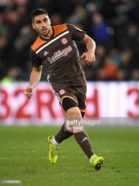Brentford player Neal Maupay in action during the Sky Bet Championship at Liberty Stadium on April 02 2019 in Swansea Wales