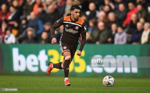 Brentford player Said Benrahma in action during the FA Cup Fifth Round match between Swansea and Brentford at Liberty Stadium on February 17 2019 in...