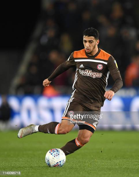 Brentford player Said Benrahma in action during the Sky Bet Championship at Liberty Stadium on April 02 2019 in Swansea Wales