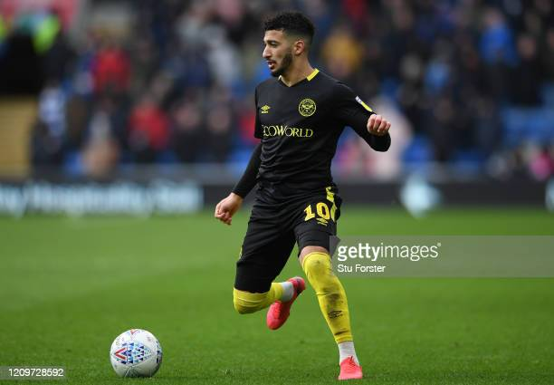 Brentford player Said Benrahma in action during the Sky Bet Championship match between Cardiff City and Brentford at Cardiff City Stadium on February...