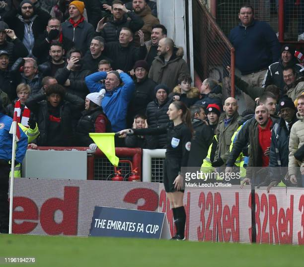 Brentford supporters react to a decision by referee assistant Sian MasseyEllis during the FA Cup Fourth Round match between Brentford FC and...
