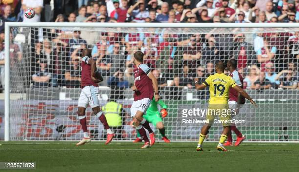 Brentford's Bryan Mbeumo goes close in the first half during the Premier League match between West Ham United and Brentford at London Stadium on...