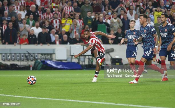 Brentford's Bryan Mbeumo goes close with a first half shot during the Premier League match between Brentford and Arsenal at Brentford Community...