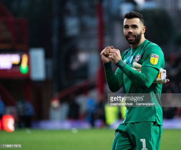 Brentford's David Raya applauds the fans at the final whistle during the Sky Bet Championship match between Brentford and Middlesbrough at Griffin...