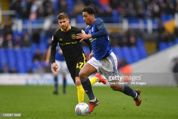 Brentford's Emiliano Marcondes and Birmingham City's Jude Bellingham in action during the Sky Bet Championship match at St Andrew's Trillion Trophy...