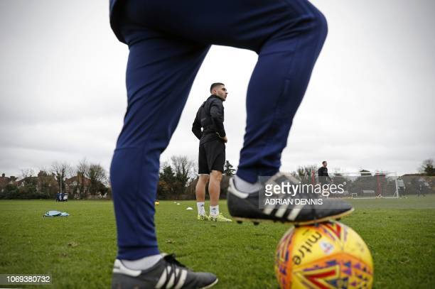 Brentford's French striker Neal Maupay takes part in training at the football club's training facility in Osterley west of London on December 6 2018...