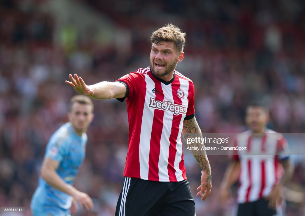Brentford's Harlee Dean in action during the Sky Bet Championship match between Brentford and Wolverhampton Wanderers at Griffin Park on August 26, 2017 in Brentford, England.