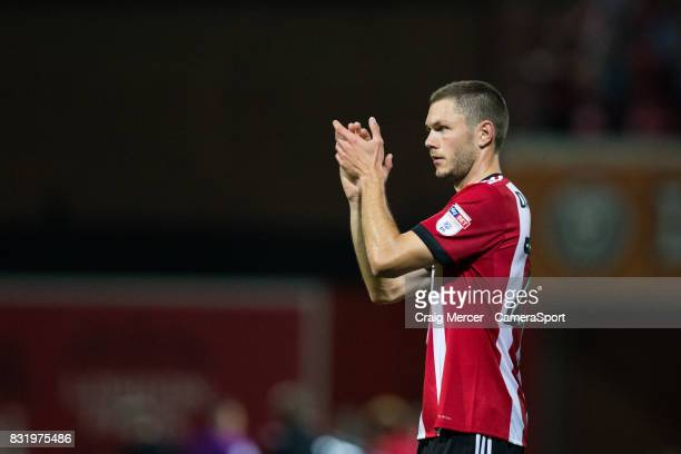 Brentford's Henrik Dalsgaard applauds the fans at the final whistle during the Sky Bet Championship match between Brentford and Bristol City at...