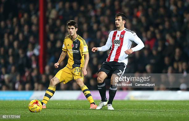 Brentford's Maxime Colin and Lucas Piazon of Fulham during the Sky Bet Championship match between Brentford and Fulham at Griffin Park on November 4...