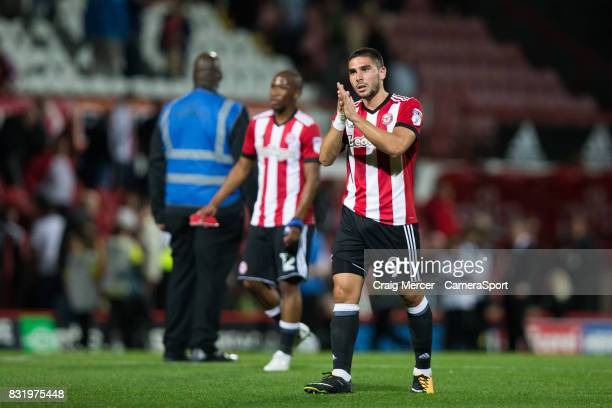 Brentford's Neal Maupay applauds the fans at the final whistle during the Sky Bet Championship match between Brentford and Bristol City at Griffin...