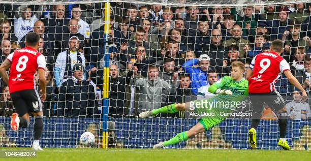 Brentford's Neal Maupay beats Leeds United's Bailey PeacockFarrell from the penalty spot during the Sky Bet Championship match between Leeds United...