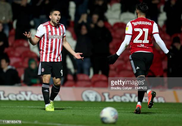 Brentford's Neal Maupay celebrates with team mate Said Benrahma Brentford v Ipswich Town Sky Bet Championship Griffin Park