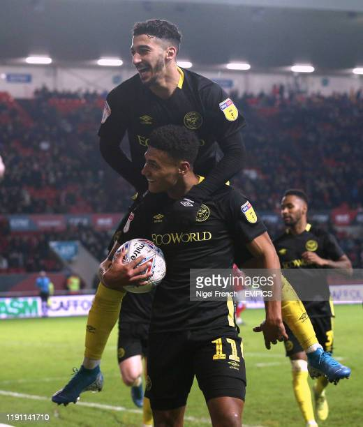 Brentford's Ollie Watkins celebrates scoring his side's fourth goal of the game with Said Benrahma Bristol City v Brentford Sky Bet Championship...