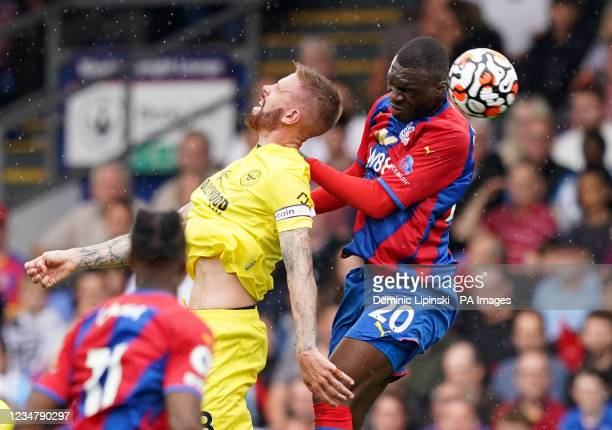 Brentford's Pontus Jansson and Crystal Palace's Christian Benteke battle for the ball during the Premier League match at Selhurst Park, London....