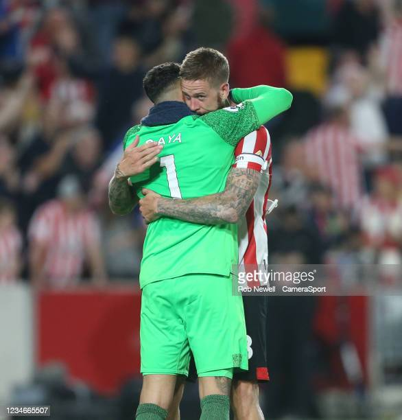 Brentford's Pontus Jansson and David Raya at the end of the match during the Premier League match between Brentford and Arsenal at Brentford...