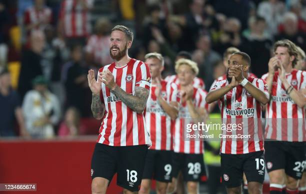Brentford's Pontus Jansson during the Premier League match between Brentford and Arsenal at Brentford Community Stadium on August 14, 2021 in...