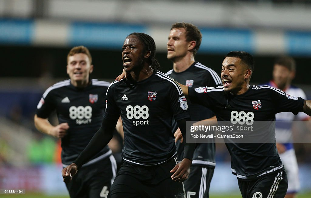 Brentford's Romaine Sawyers celebrates scoring his sides second goal during the Sky Bet Championship match between Queens Park Rangers and Brentford at Loftus Road on October 28, 2016 in London, England.