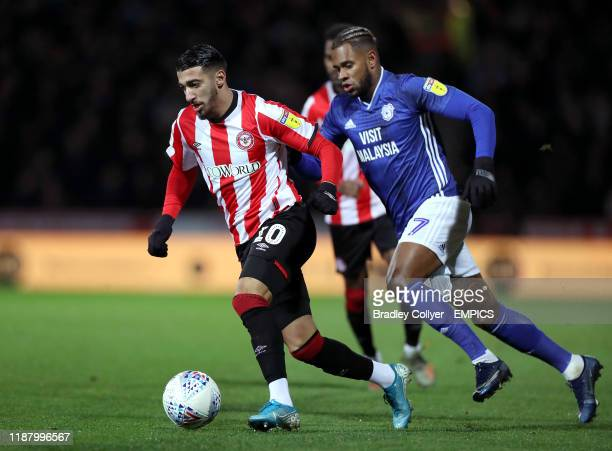 Brentford's Said Benrahma and Cardiff City's Leandro Bacuna in action Brentford v Cardiff City Sky Bet Championship Griffin Park