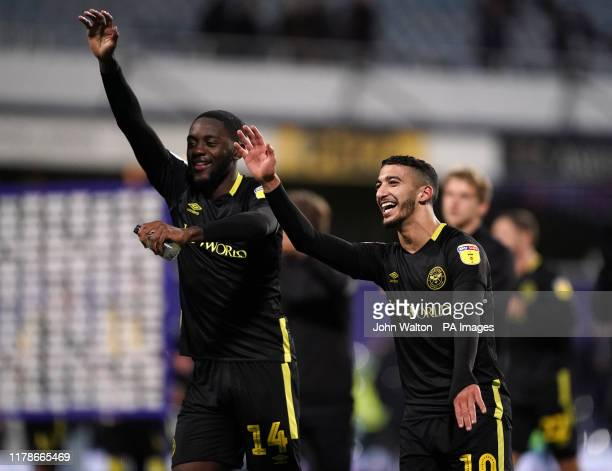 Brentford's Said Benrahma and Josh Dasilva celebrate their sides victory during the Sky Bet Championship match at Loftus Road London