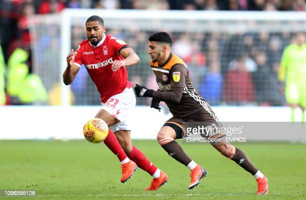 Brentford's Said Benrahma battles for the ball with Nottingham Forest's Saidy Janko Nottingham Forest v Brentford Sky Bet Championship The City Ground