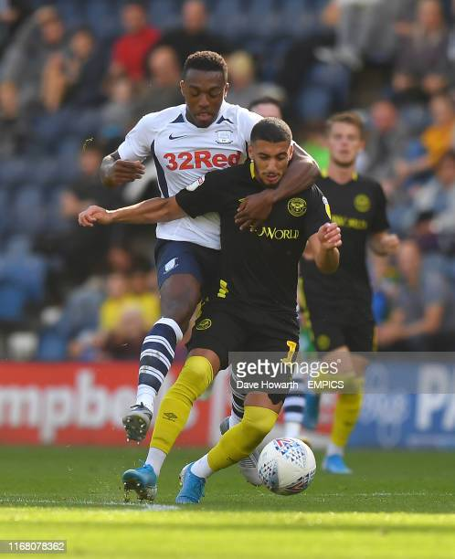 Brentford's Said Benrahma battles with Preston North End's Darnell Fisher battle for the ball Preston North End v Brentford Sky Bet Championship...