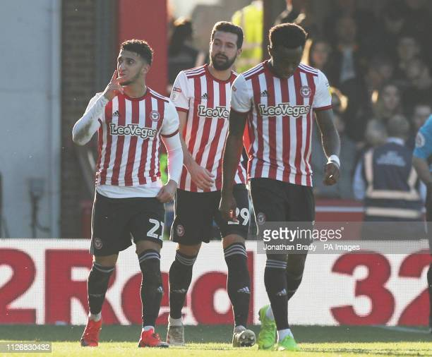 Brentford's Said Benrahma celebrates scoring his first goal during the Sky Bet Championship match at Griffin Park London