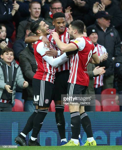 Brentford's Said Benrahma celebrates scoring his side's second goal of the game with Julian Jeanvier and Neal Maupay Brentford v Stoke City Sky Bet...