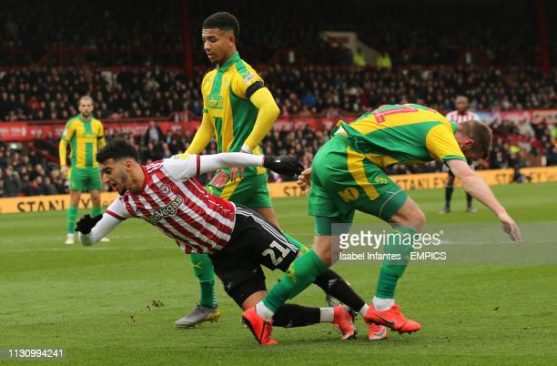 Brentford's Said Benrahma clashes with West Bromwich Albion's Kyle Edwards Brentford v West Bromwich Albion Sky Bet Championship Griffin Park