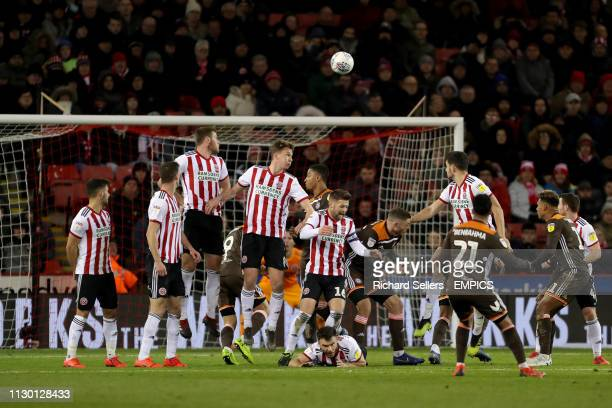 Brentford's Said Benrahma fires his free kick wide Sheffield United v Brentford Sky Bet Championship Bramall Lane