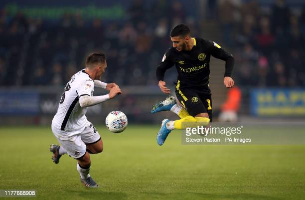 Brentford's Said Benrahma flicks the ball up in the air during the Sky Bet Championship match at the Liberty Stadium Swansea
