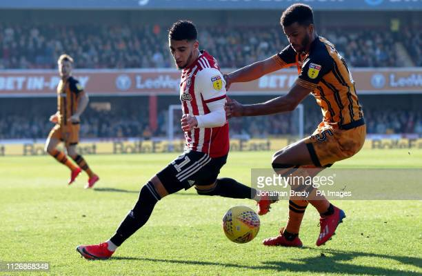 Brentford's Said Benrahma gets past Hull City's Fraizer Campbell during the Sky Bet Championship match at Griffin Park London