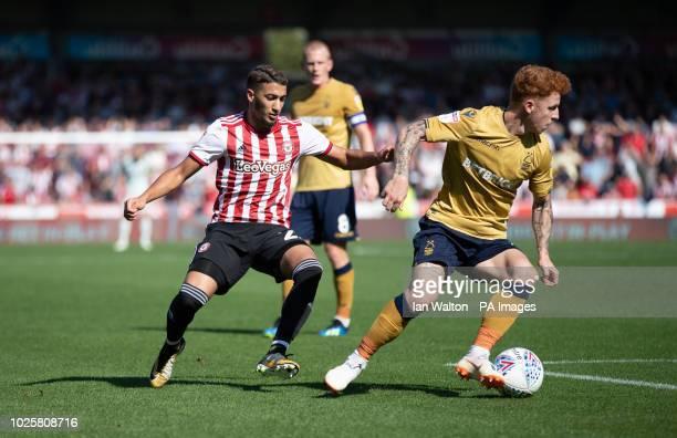 Brentford's Said Benrahma tries to tackle Nottingham Forest's Jack Colback Brentford v Nottingham Forest Sky Bet Championship Griffin Park